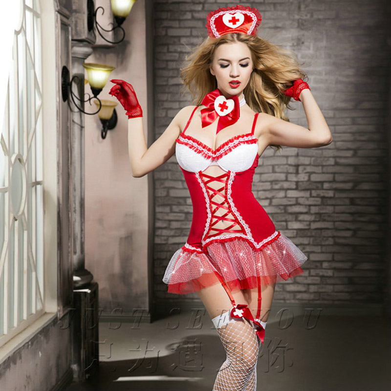 Exotic Apparel Babydolls & Chemises Hot Woman Sexy Lingerie Cosplay Red Hollow Out White Edge With Nurse Erotic Sexy Woman Sex Clothing