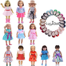 LUCKDOLL Cute Princess Dress Fit 18 Inch American 43cm Baby Doll Clothes Accessories,Girls Toys,Generation,Gift(China)