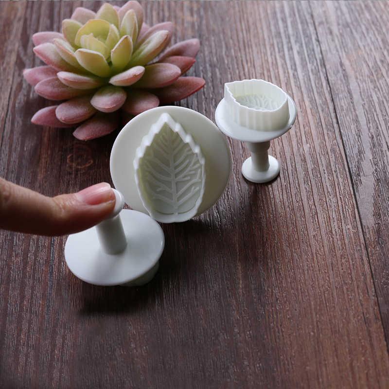 3 uds pastel Rosa émbolo con diseño de hoja Fondant herramientas de corte de tarta de 3D herramientas de decoración de pasteles sugarcraft galleta Cupcake molde de horno para pastel