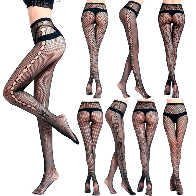 2e97f19eb6b17 LIMSISNIW Fashion Styling Women Fishnet Black Tights Florals/Plaid/Strip Pattern  Young Ladies Net Pantyhose Thin Look Stockings-in Tights from Underwear ...