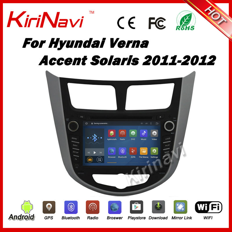 KiriNavi Android 5.1.1 car radio gps dvd player multimedia stereo For Hyundai Solaris Verna Accent 2011 2012 2013 2014 2015 2016