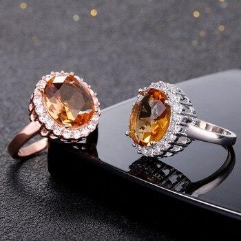 Gemstone Topaz Rings Women's 925 Silver Ring