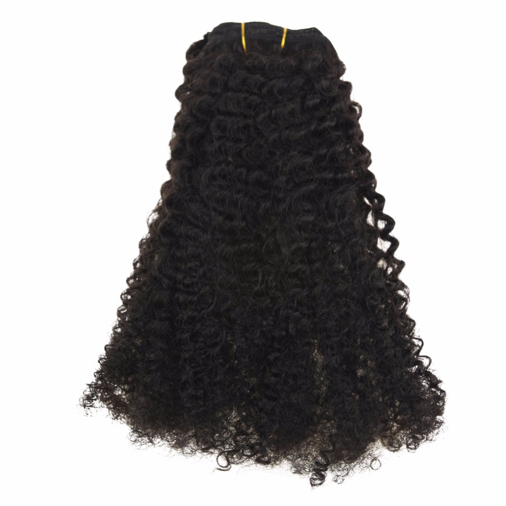 Moresoo Afro Kinky Curly Clip In Human Hair Extensions 100% Brazilian Remy Hair 7Pieces 100Gram Natural Black #1B