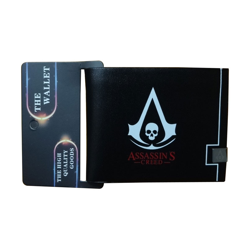 2017 New Assassin's Creed Wallets Anime Logo Purse Leather Card Holder Bags carteira feminina Gift Men Women Folded Short Wallet tangimp cool cat purse vintage wallets 2017 women men canvas storage bags monederos card bags bolsas carteira feminina fresh