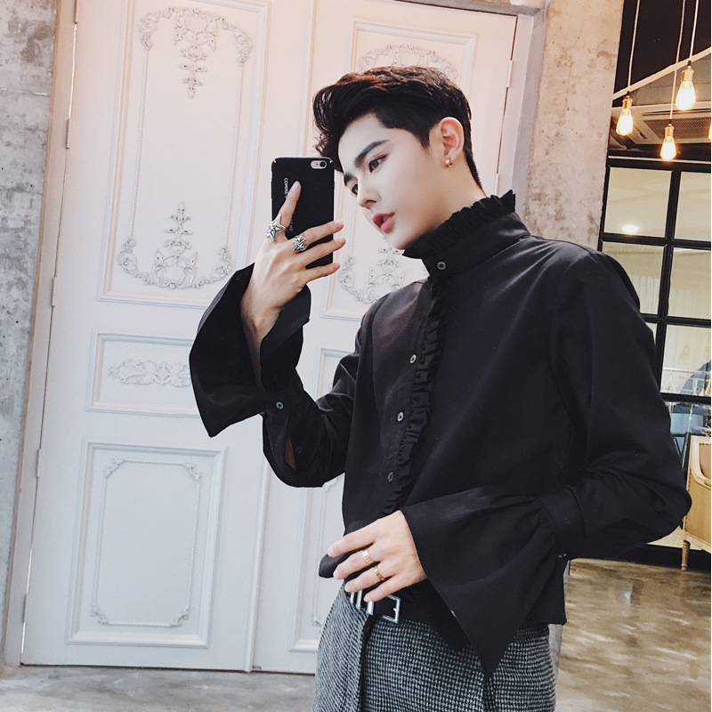 Image 5 - Men Gothic Shirt Cotton Ruffle Stand Collar Flare Long Sleeve Vintage Fashion Tops Retro Black White Shirts New 904 918-in Casual Shirts from Men's Clothing