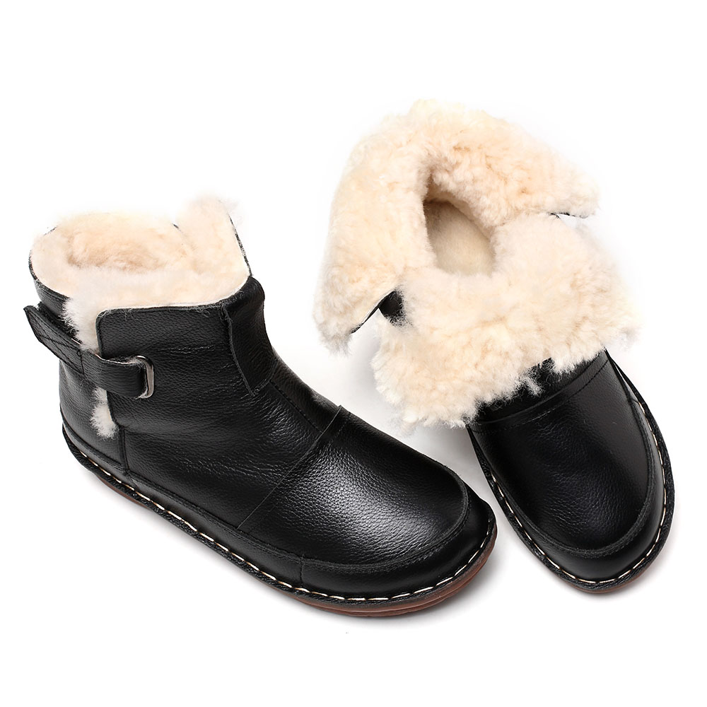 48c207353b4 Whensinger 2018 New Women Snow Boots Genuine Leather Shoes Warm Wool ...