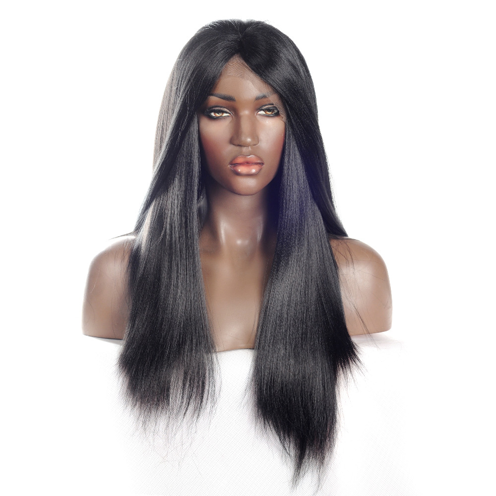 V NICE Yaki Straight Wig Synthetic Hair Lace Fronta Wig Heat Resistant Fibers Wigs Yaki Synthetic