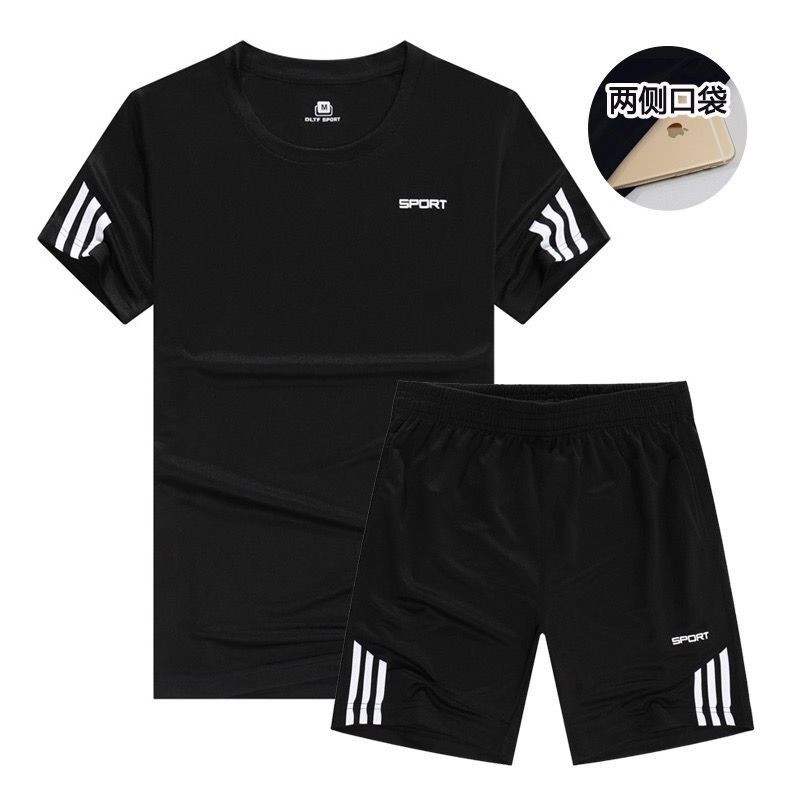 New Sports T-Shirt Men's Suits Short Sleeve T-Shirt 2Pcs/Set Shirts Running Tops+Men Casual Shorts Suit For Soccer Play Running