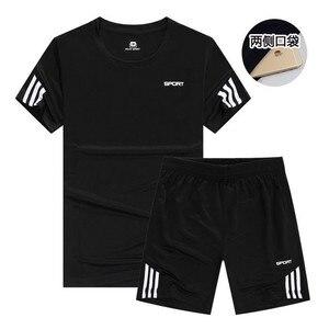 New Sports T-Shirt Men's Suits Short Sleeve T-Shirt 2Pcs/Set Shirts Running Tops+Men Casual Shorts Suit For Soccer Play Running(China)