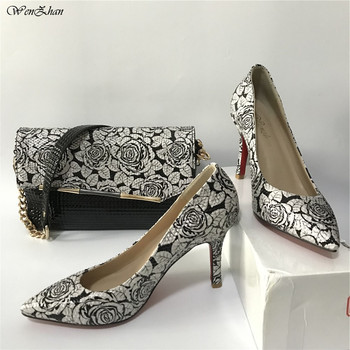 High Heel Soft Shoes With Matching Flower Bag WENZHAN Black Leather slip on shoes With Attractive HandBags For Any OccasionA93-8