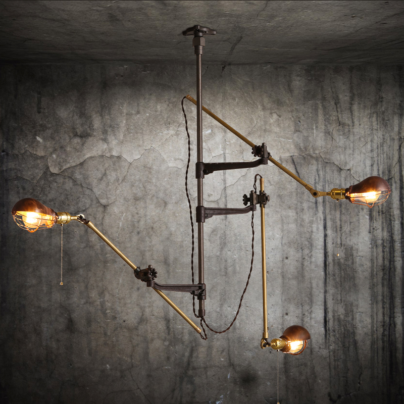 IWHD Vintage Copper LED Ceiling Lights Iron Retro 3 Heads Retro Ceiling Lighting Fixtures Home Lighting Bedroom Long Arm Plafon