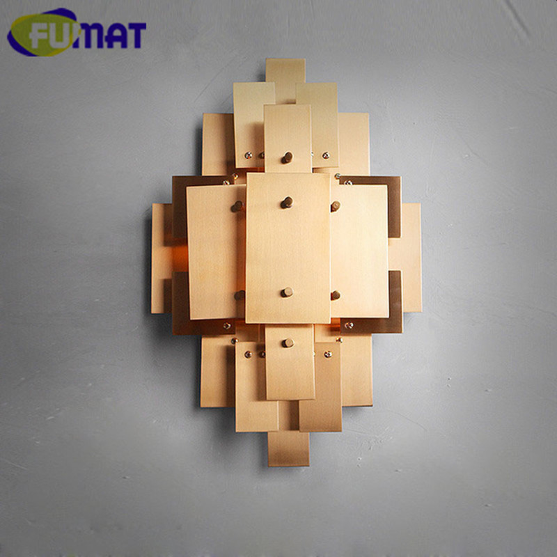 fumat modern gold metal wall light american industrial wall sconce bedroom bedside lamp nordic villa designer - Designer Wall Lamps