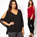 6XL Plus Size Women off Shoulder V neck Blouses Black Red Chiffon Ladies Casual Batwing Sleeve 2016 New Style Shirts