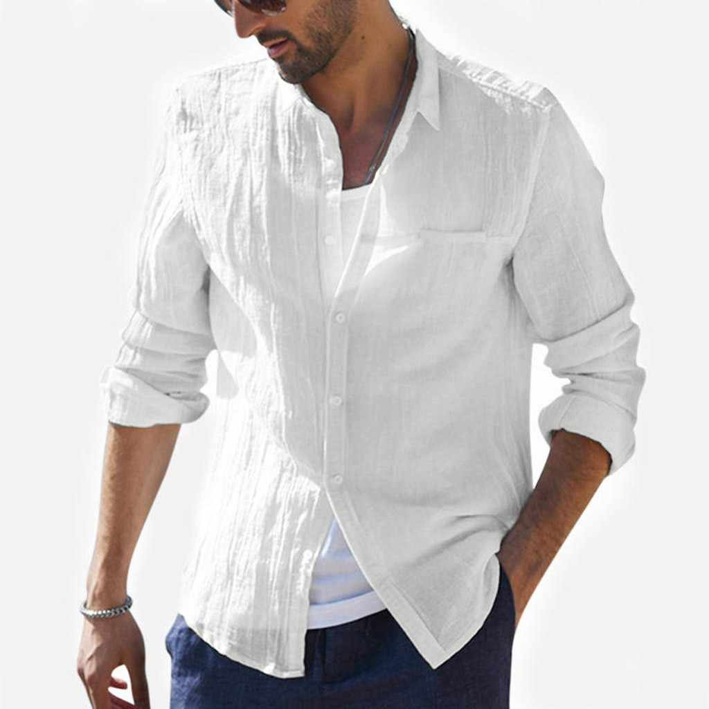 Mens Linen Shirts Long Sleeve,2019 New Pure Cotton Hemp Button Short//Long Sleeves Slim Fit Fashion Large Blouse Tops