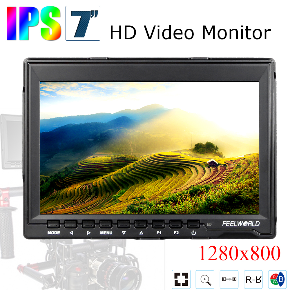 Feelworld FW759 7' DSLR Monitor HD IPS 1280x800 Contrast 800:1 Field LCD Monitor HDMI Input with Sunshade for BMPCC BMCC