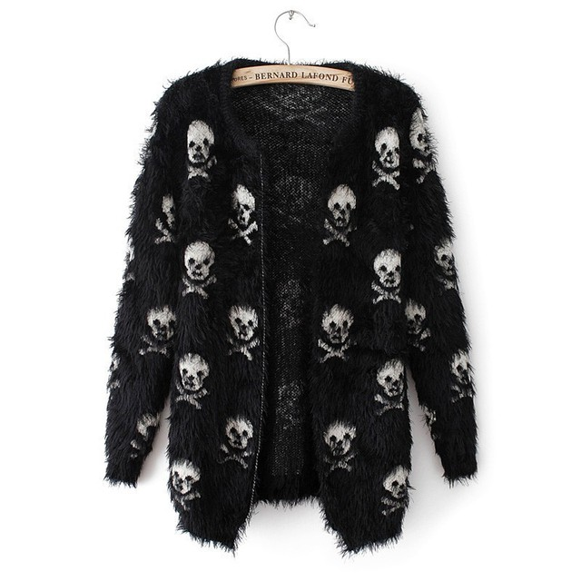 Autumn Winter women knit wool sweater skull head