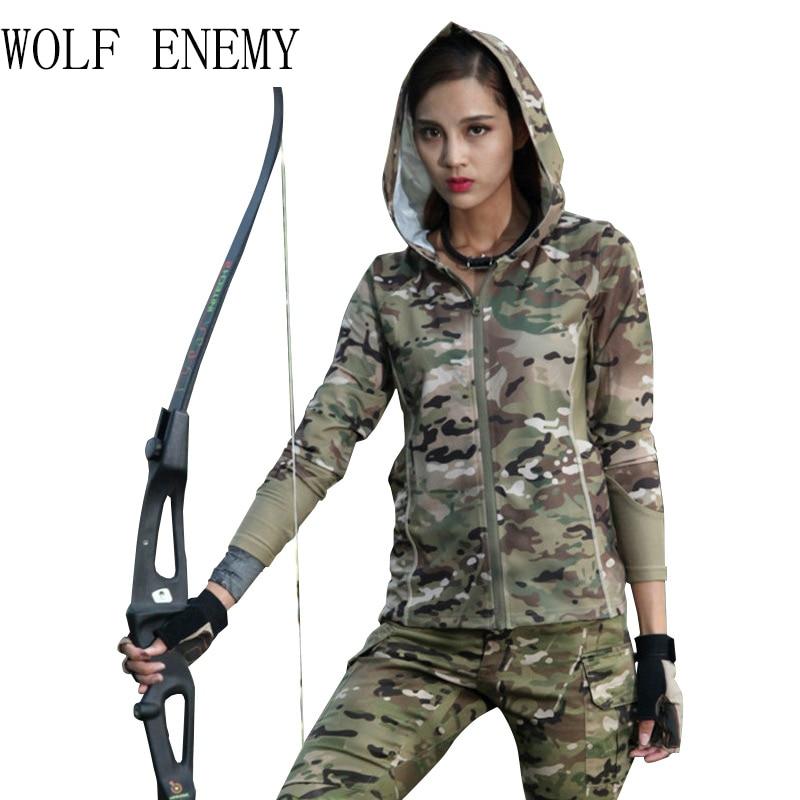 2018 Tactical Multicam Camouflage Women's Hoodies & Sweatshirt 100% Polyster Zip-up Shirt MTP MCBK MCA MC Alphin furry hood camouflage zip up down waistcoat