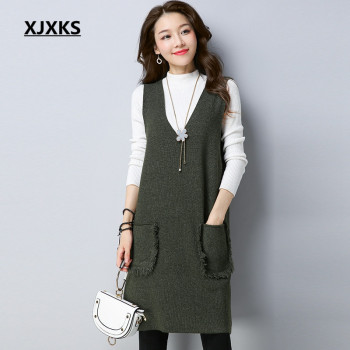 XJXKS Ladies Clothing V-neck Ulzzang Women Sleeveless Pullover Sweater 2018 Tassel Pockets Women's Long Sweaters