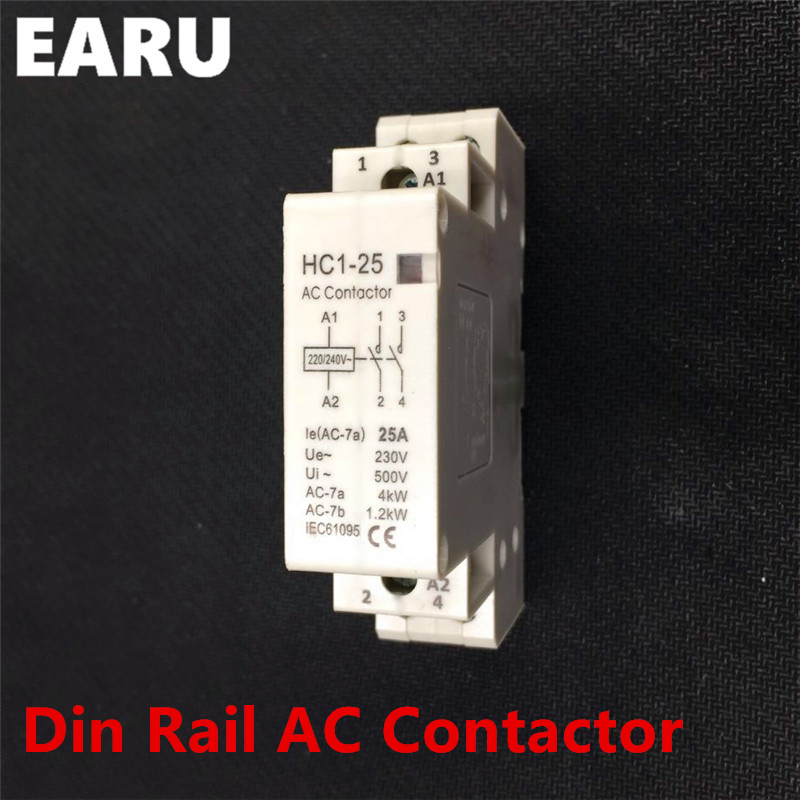 2P 25A 220V/230V 50/60HZ Din Rail Household AC Contactor Module 1NO 1NC 1NO+1NC 2NO 2NC for Home House Hotel Quiet Voltage CE ac 220v 230v coil voltage pcb power relay 8 pins din rail dpdt 2no 2nc mk2p 1 free shipping