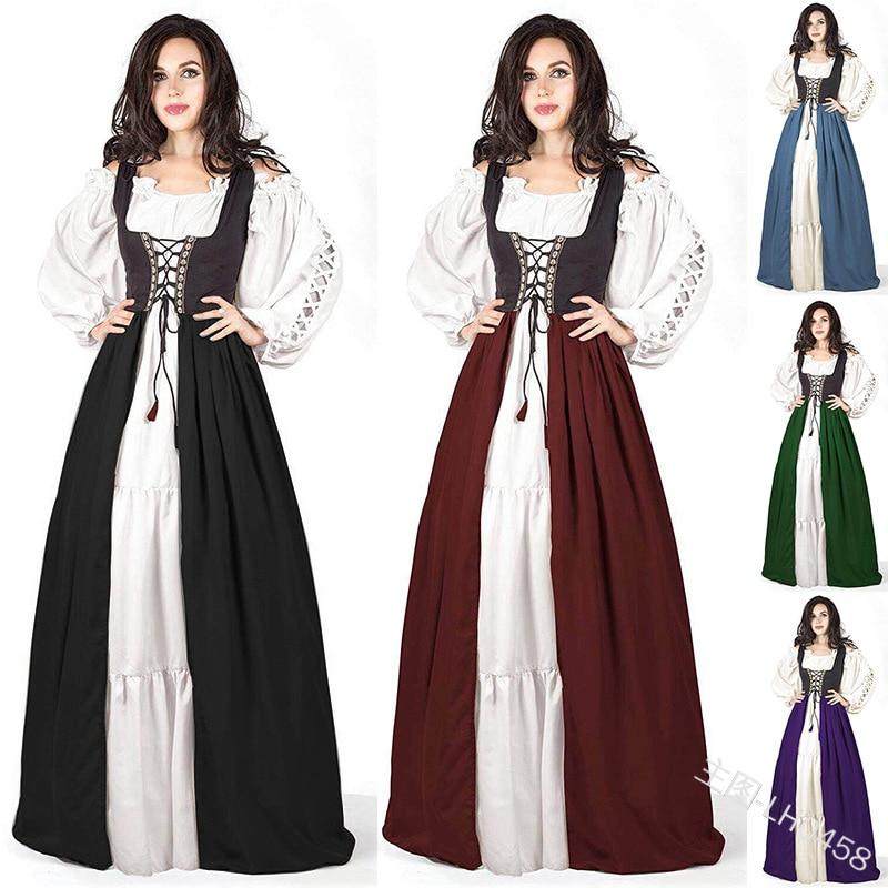 Plus Size XXXXXL Adult Women Medieval Costume Maxi Long Gown Dress Victorian Sleeve Robe Back Lace-Up Vintage Fancy Dress
