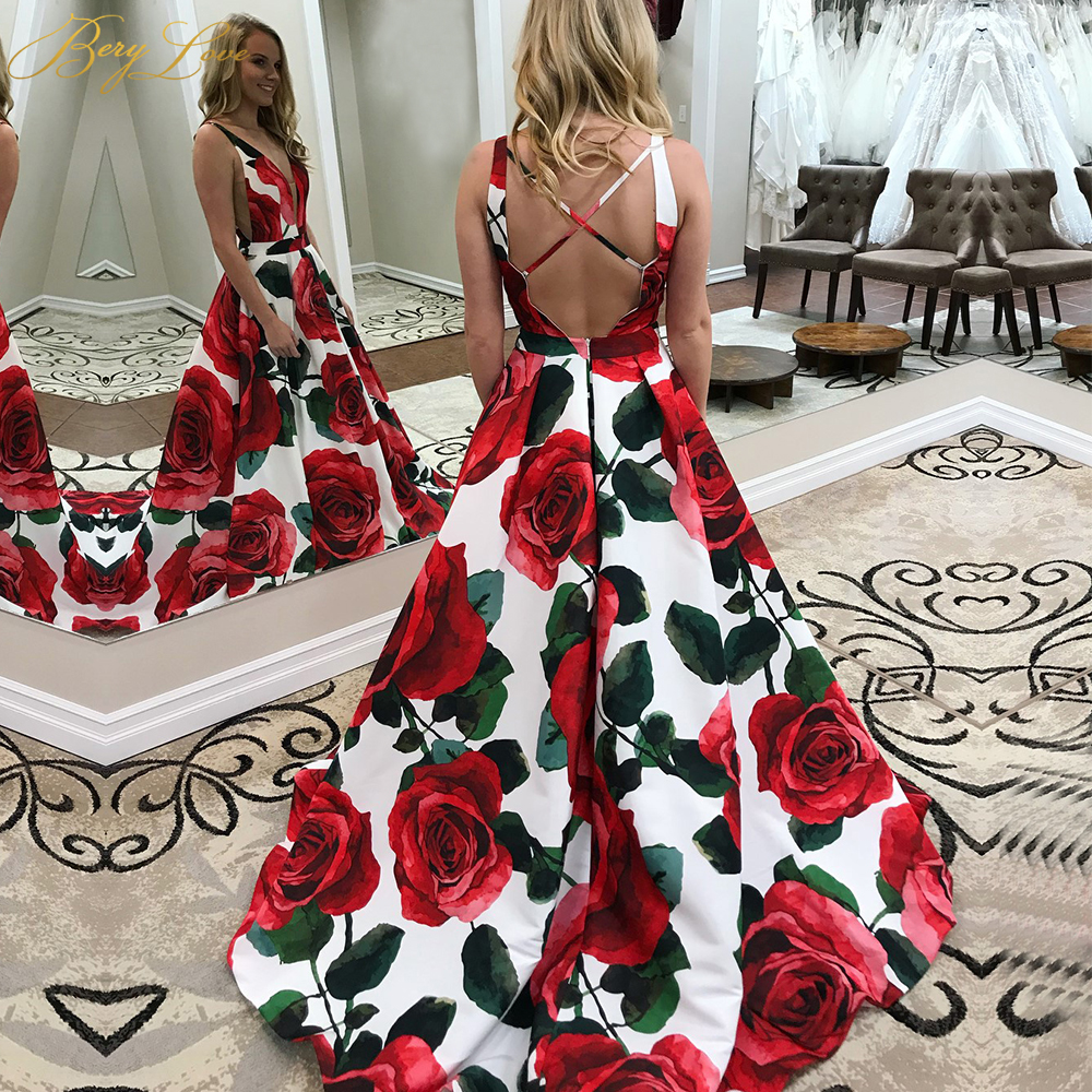 Red Floral   Evening     Dress   2019 Pattern Long V Neck Colorful Prom   Dress   Formal Party Gown Abendkleider 2019 Vestido robe de soiree