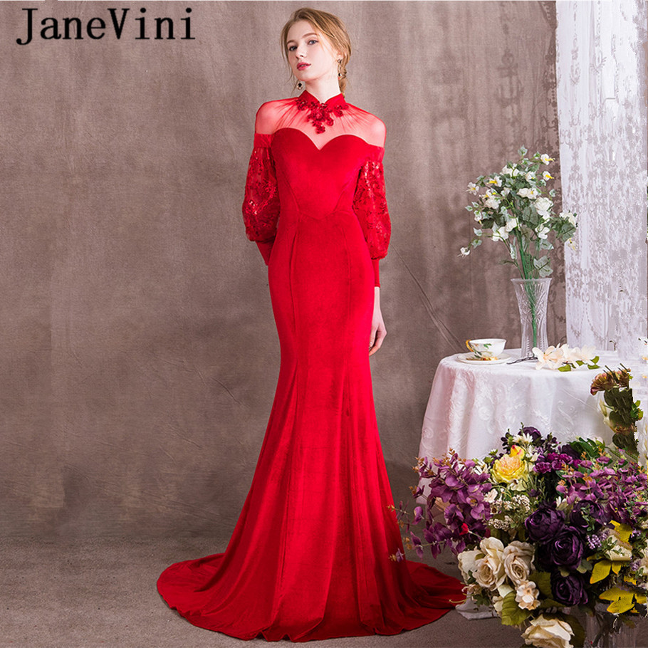 JaneVini Charming Long Sleeves   Bridesmaid     Dresses   High Neck Sequins Red Formal Velvet Elegant Illusion Mermaid Formal Prom Gowns