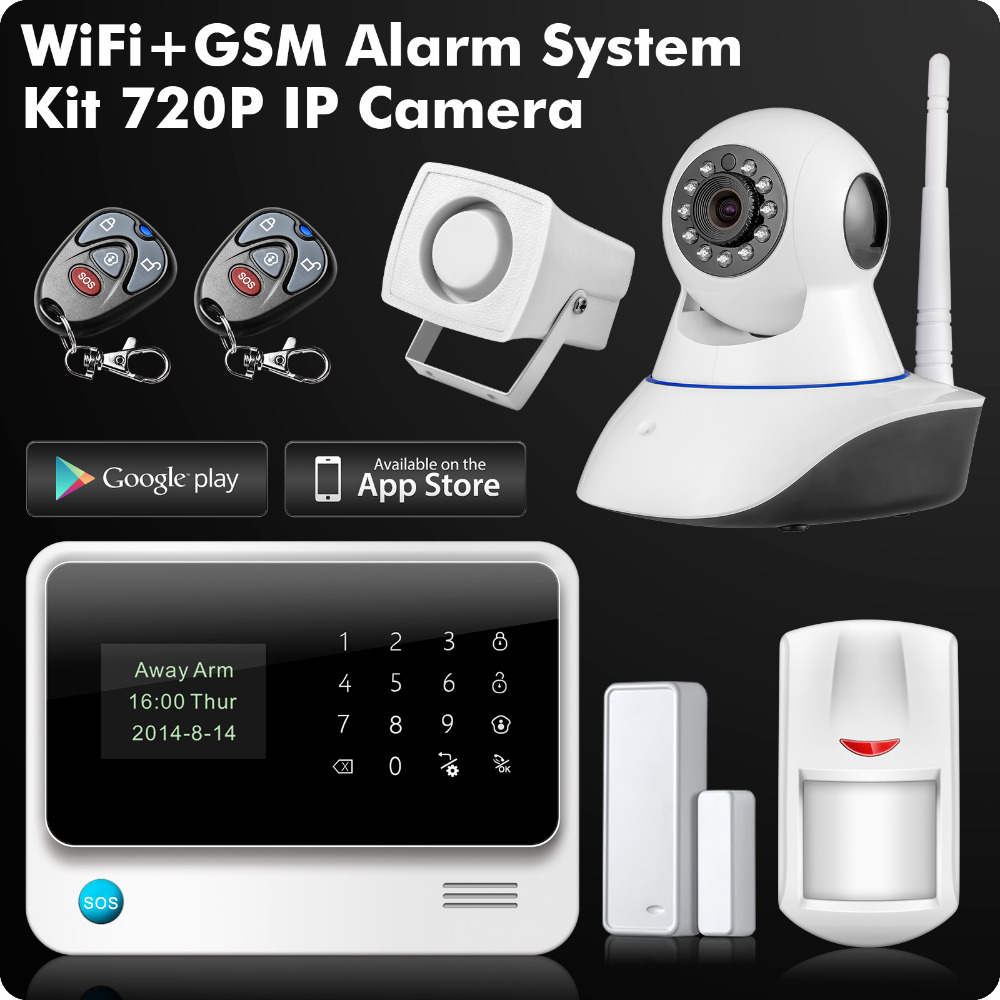 G90B 2.4G WiFi GSM GPRS SMS Wireless Home Security Alarm System IOS Android APP Remote Control Detector Sensor wireless gsm pstn home alarm system android ios app control glass vibration sensor co detector 8218g