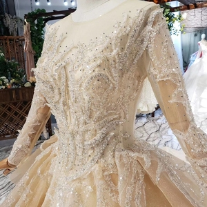 Image 4 - HTL628 robes de mariée de luxe à manches longues o cou lourd handmake perle robes de mariée 2019 trou de serrure retour vestido de novia con manga