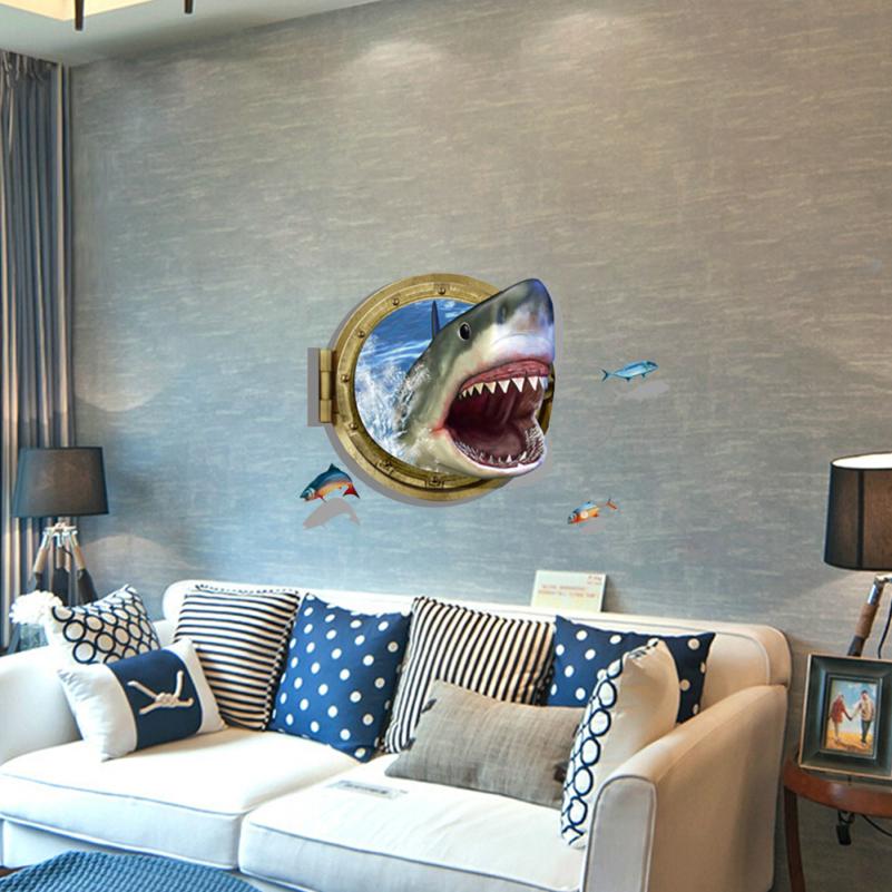 Tremendous Aliexpress Com Buy 3D Ocean Shark Porthole Views Wall Sticker Largest Home Design Picture Inspirations Pitcheantrous