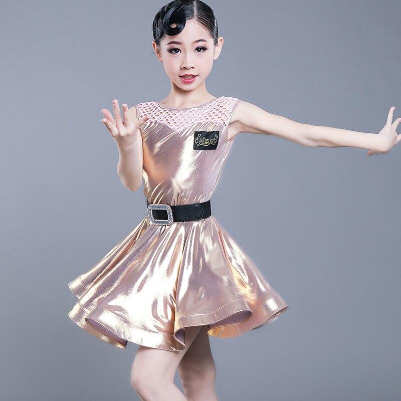 Robe de danse latine pour filles doré à manches courtes enfants pratique robes Salsa Tango Cha Cha enfants Performance porter DDQT1081