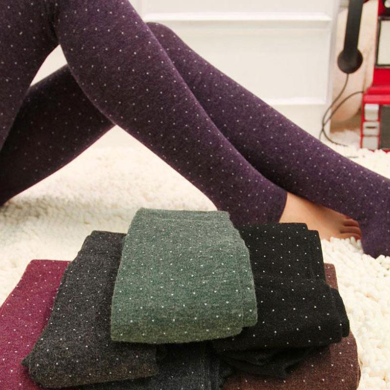 NDUCJSI Knitted Flexible Leggings Women Cotton Wool Sweet Leggins Thicker Elastic Sparkling Dot Design Autumn Legging