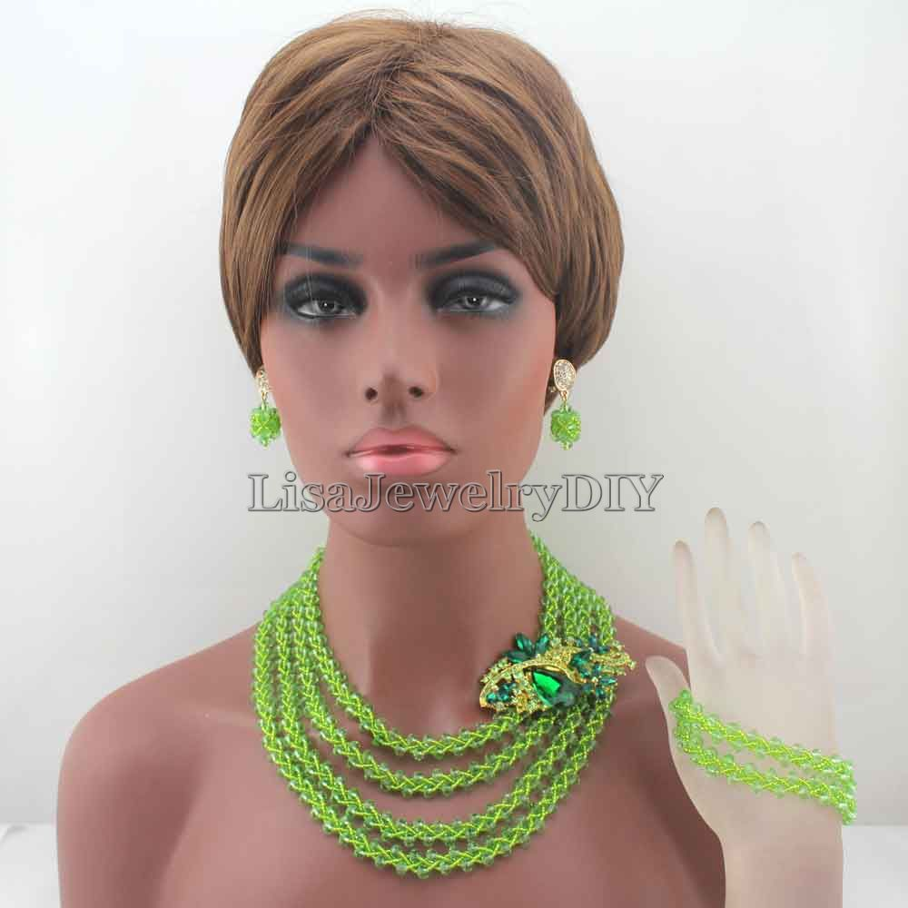 African Apple Green Costume Bridal Jewelry Set Women Fashion Jewellery Trends Traditonal Wedding Beads Free Shipping HD8233