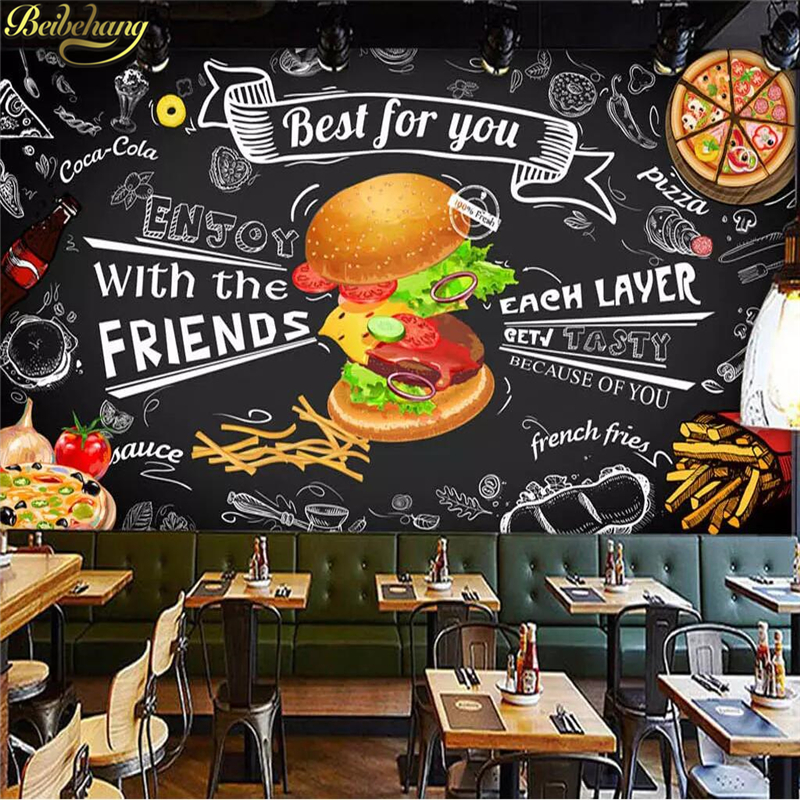Beibehang Custom Burger Fast Food Wall Paper Restaurant Snack Bar Catering 3D Wall Murals Wallpaper Living Room Bedroom Backdrop