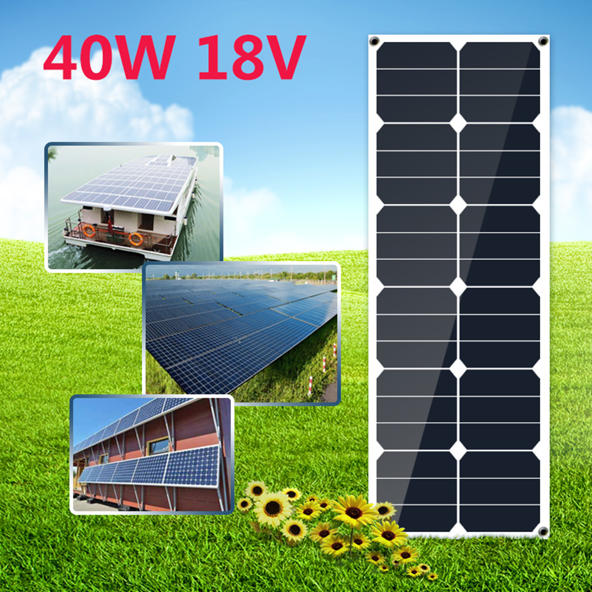 KINCO Flexible Solar Panel Plate 40W 18V Solar Charger For Car Battery 12V Sunpower Monocrystalline Silicon Cells Module KitKINCO Flexible Solar Panel Plate 40W 18V Solar Charger For Car Battery 12V Sunpower Monocrystalline Silicon Cells Module Kit