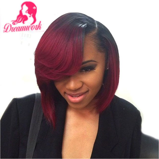 99j Red Bob Full Lace Virgin Peruvian Hair Wigs With Bangs