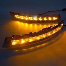รถกระพริบไฟวิ่งกลางวันLEDสำหรับVolvo XC90 2007 2008 2009 2010 2011 2012 2013 DRLสีเหลืองเปิดsingal Fog Lamp