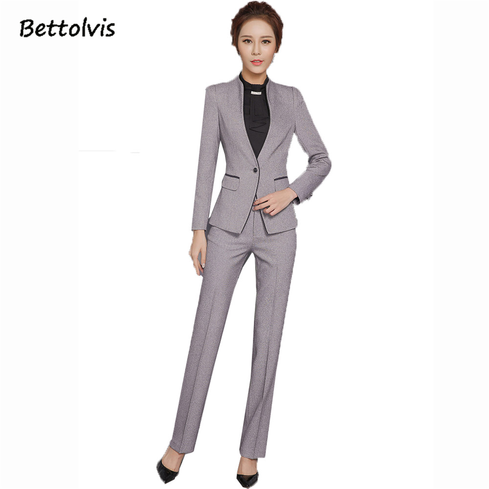 2018 Autumn female elegant pant suits Women set work wear women's long sleeve blazer with Trousers office XXXL suit Gray black