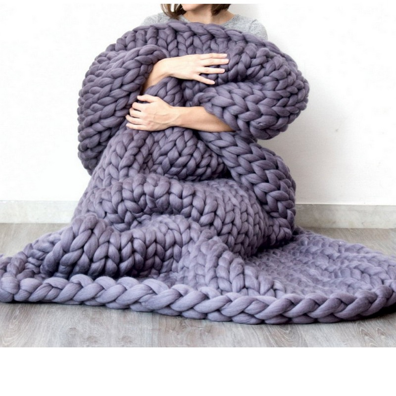 120cm*150cm big yarn Knitted wool blanket sofa quilt, bed mattress, baby play mat room rug Thick Yarn Coarse Wool sleeping bag купить в Москве 2019