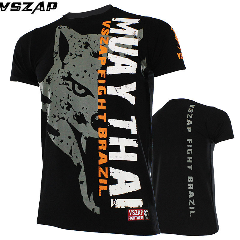VSZAP mens Short-sleeved T-shirt mma muay Thai t shirt Elasticity Water absorption Quick-drying Wolf Short-sleeved T-shirt esy outdoor sports men s quick drying short sleeves t shirt navy black size l