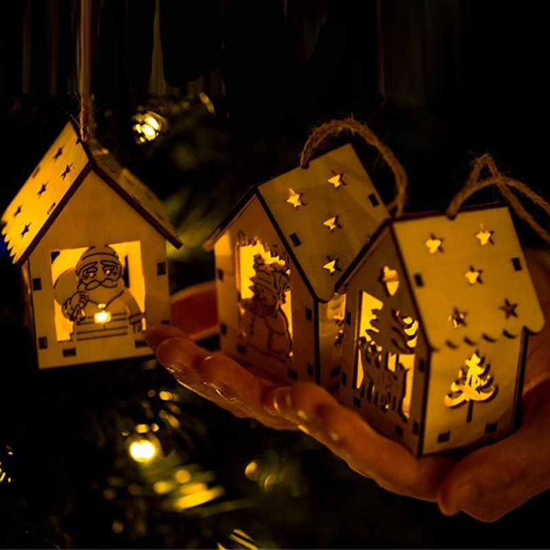 Hot Christmas Charm Light Mini House LED Night Light With Santa Claus Snowman Christmas Tree ornaments Pendant decorations in Pendant Drop Ornaments from Home Garden
