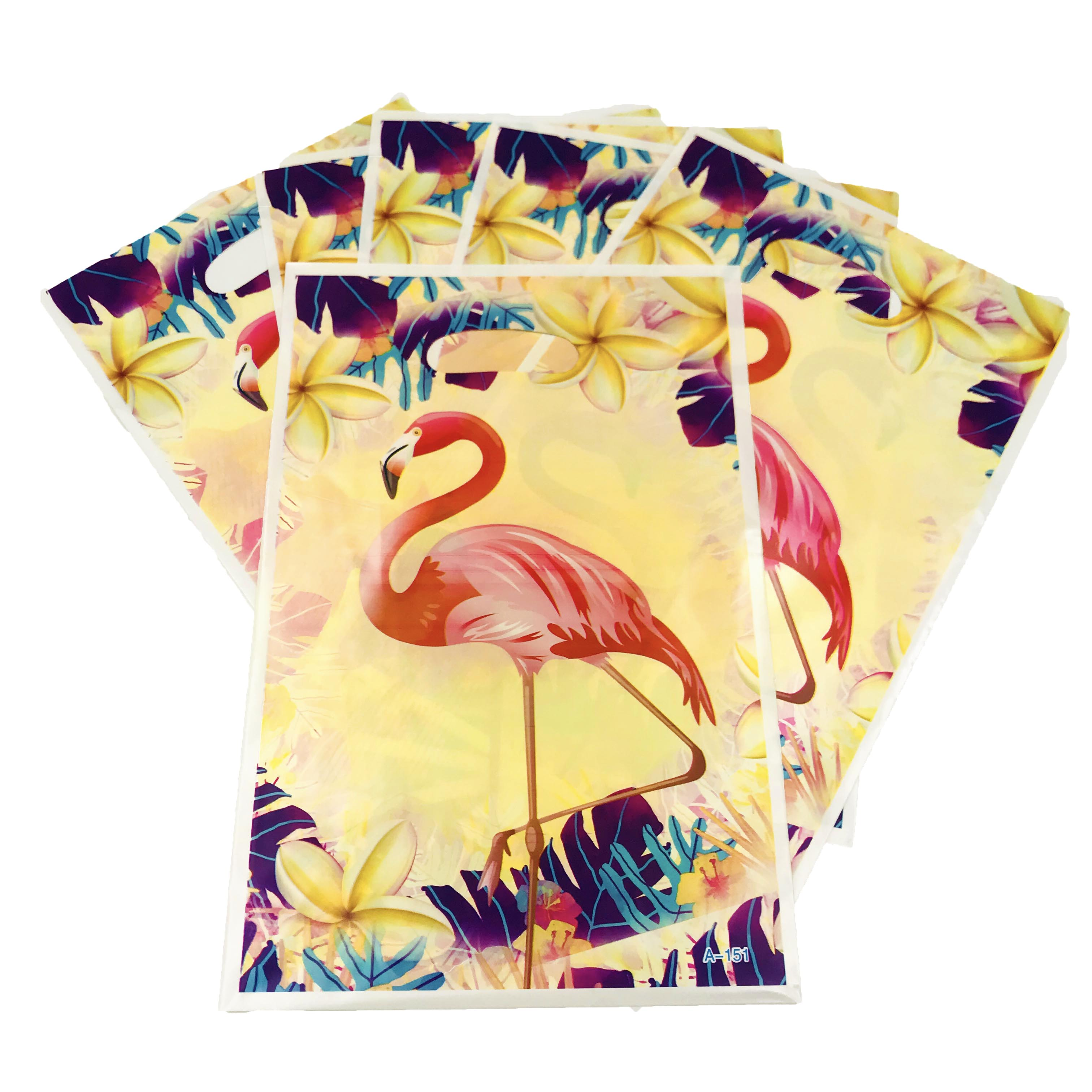 6pcsset Flamingo Plastic Bags Shop Clothes Gift Bags With Handles Wedding Birthday Party Supplies Gift Bags Cookies Storage Bag