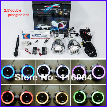 "2pcs x 2.5"" HID Bi-xenon Double Headlight Projector Lens Kit For H1 H3 H7 H11 9005 9006 Bulb Angel Eye RHD"