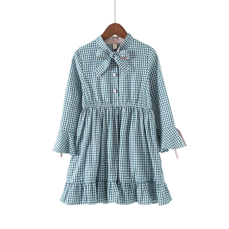 цена 2018 Autumn Kids Dresses For Girls Blanket Long Sleeve Princess Dress Plaid Bow Cotton flounce dress children's casual clothes