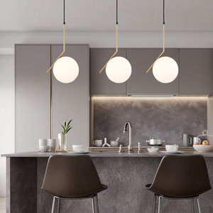 Image 1 - 20cm Modern Glass Ball Pendant Light Fixture Round Iron luminaire Metal Lamp Designer Glass Luster