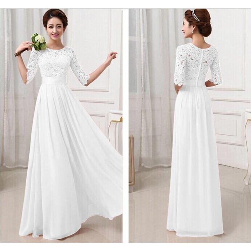 liva girl long wedding party dress 2017 women white bridesmaid half sleeve pleated chiffon dress maxi