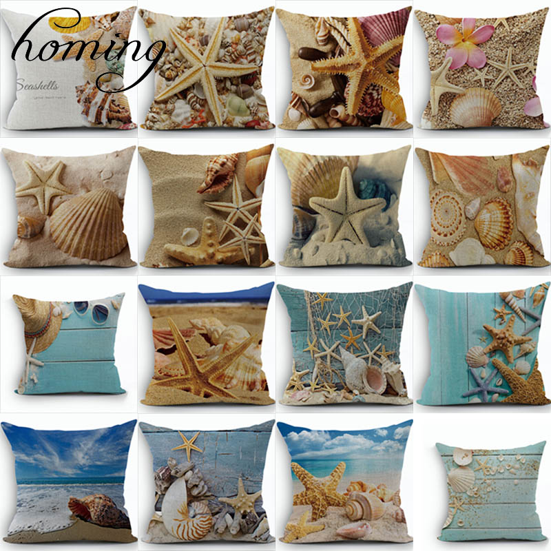 Ocean Style Pattern Cushion Covers Decorative Sofa Pillow Case Bedding  Modern Printed Cushion Covers Cotton Linen Home Textile