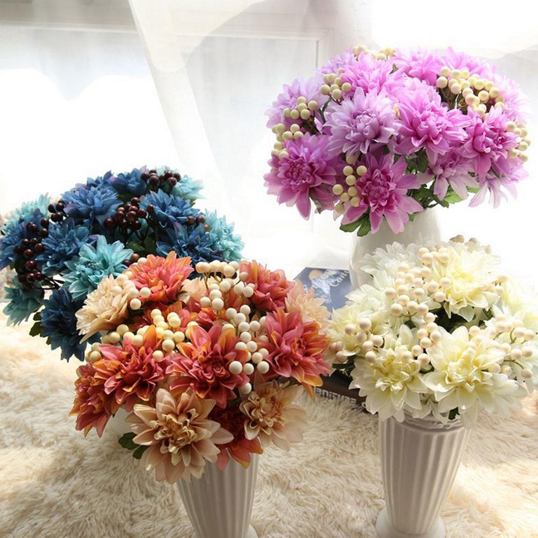 Silk Wedding Flowers: Silk Flower Wedding Bouquet Roses Dahlias Artificial