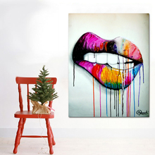 Sexy Colorful Mouth Pop Art Canvas Abstract Picture
