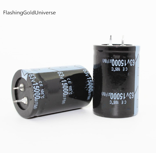 FlashingGoldUniverse 12PCS--2PCS 63V 15000UF 15000UF 63V   Electrolytic Capacitors Volume: 35X50MM Best Quality
