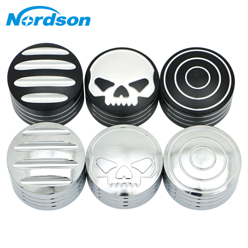 Nordson Motorcycle Set 4pcs Edge Cut Skull Bolt Topper Screws Cover Caps For Harley XL883 XL1200 X48 Dyna Fat Boy Twin Cam